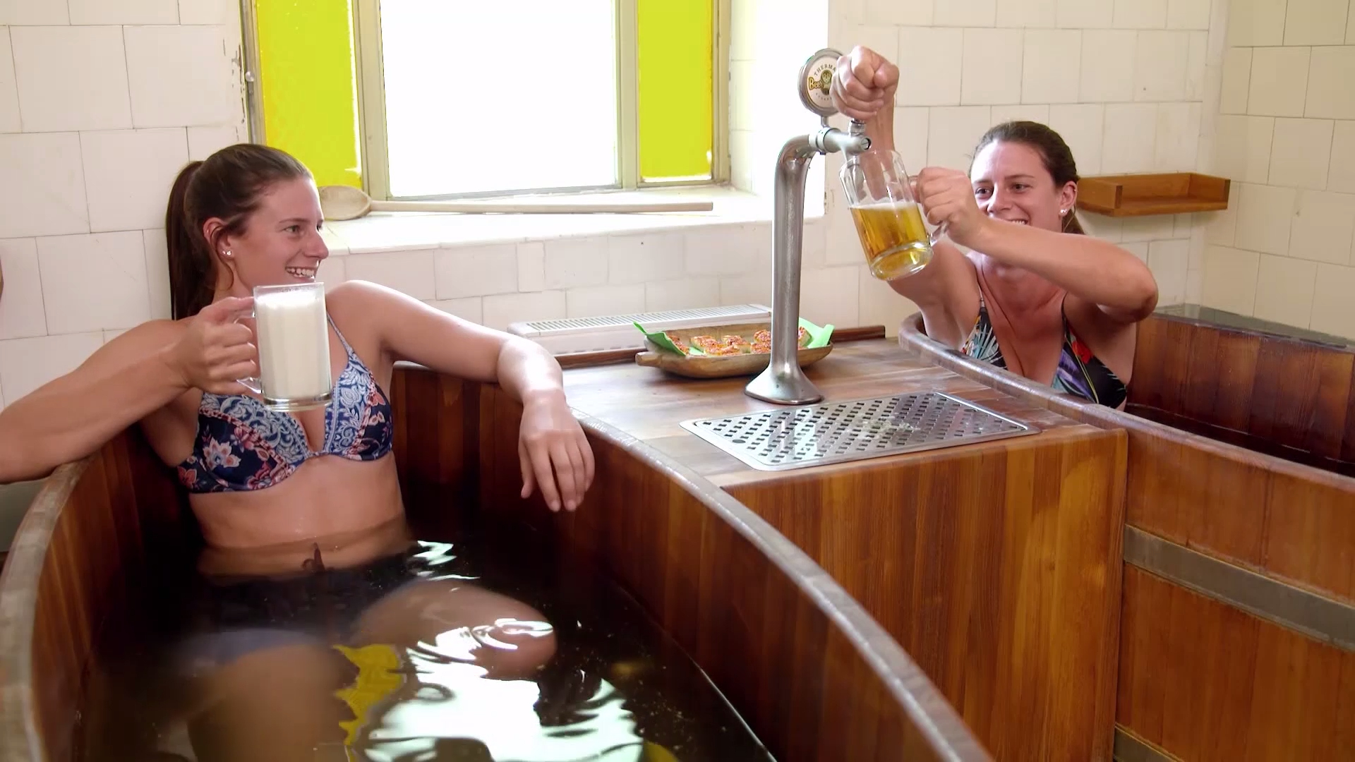 Stack and Mel have a 'beer bath' with unlimited beer on tap