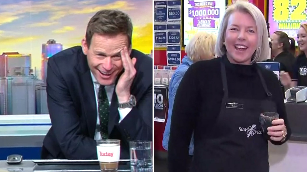 Saucy newsagent has hosts in stitches