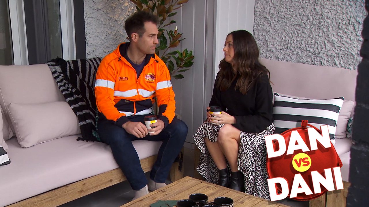 What makes Dani want to 'skip' in the couples' front gardens
