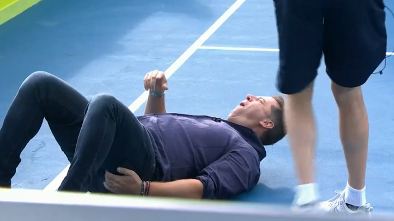 Karl Stefanovic left wounded from tennis battle with Hughesy