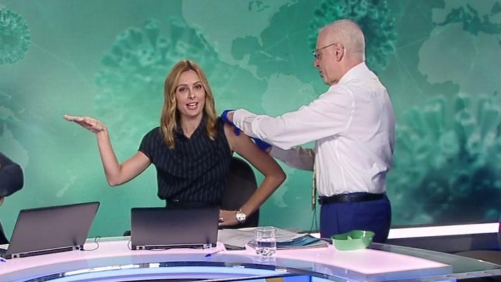 Allison Langdon gets the flu shot