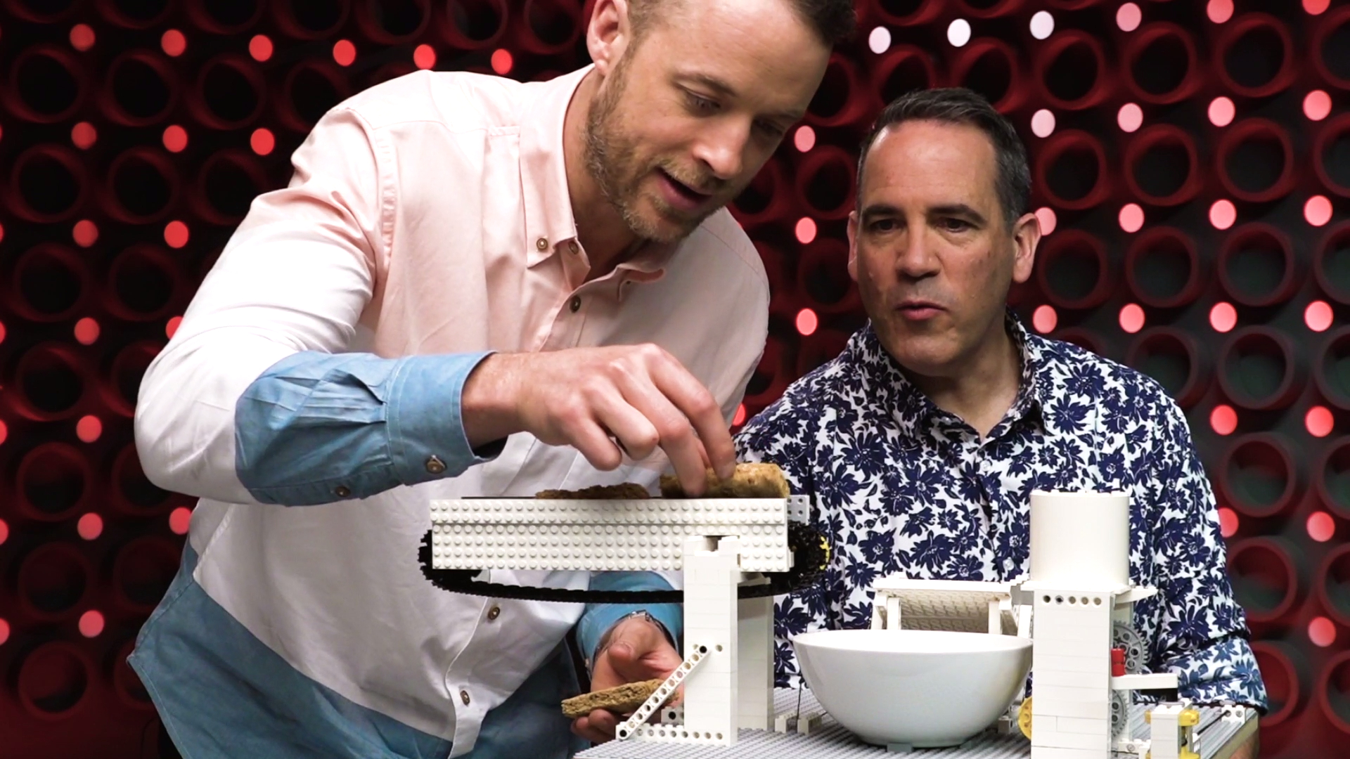 Hamish Blake challenges Brickman to make a breakfast machine out of LEGO