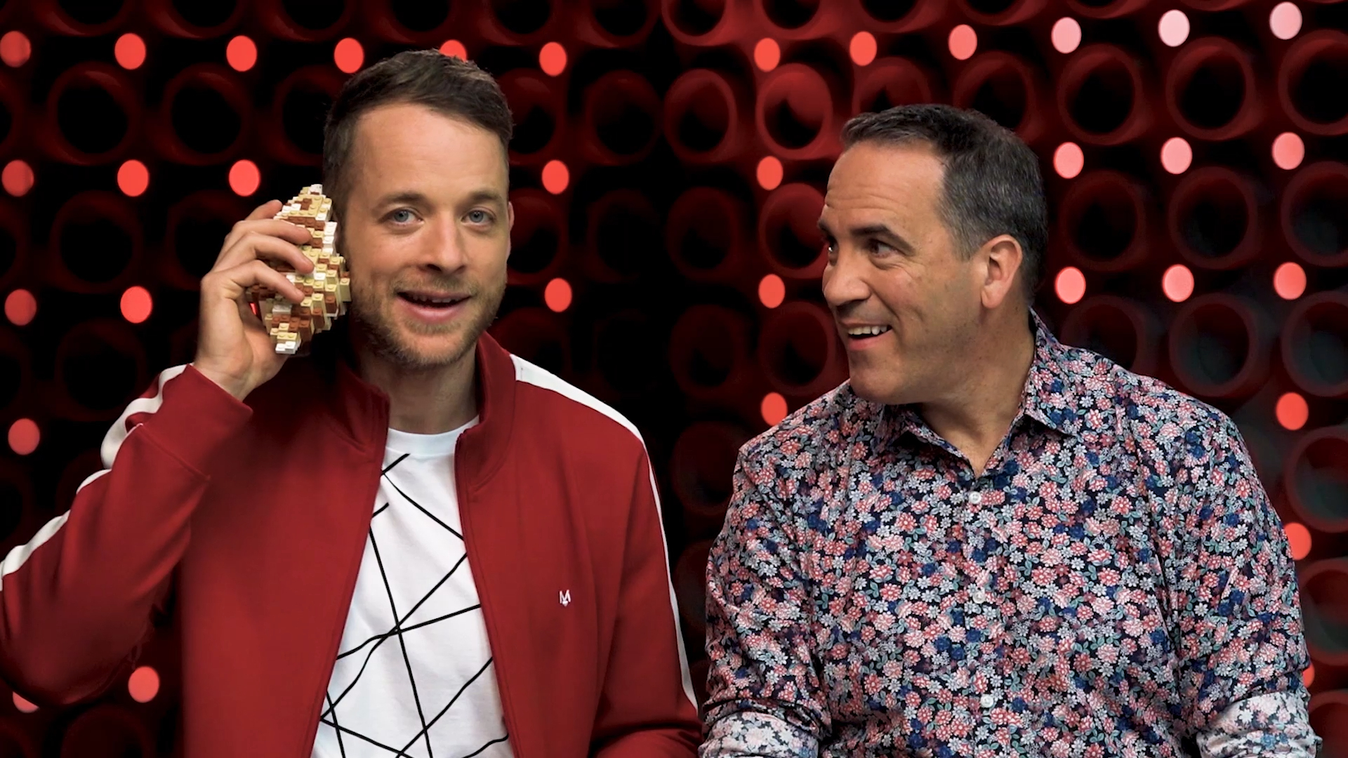 Hamish Blake challenges Brickman to build a seashell out of LEGO