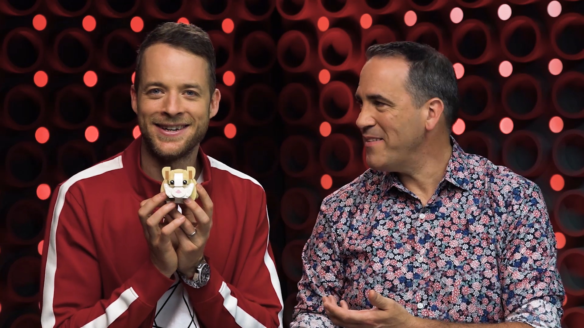 Hamish Blake challenges Brickman to build a hamster out of LEGO