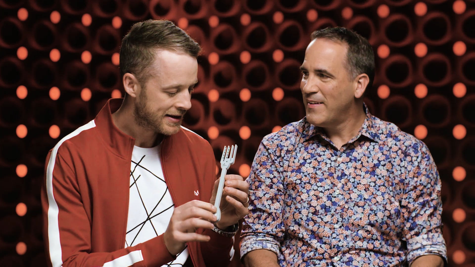 Hamish Blake challenges Brickman to make a LEGO cutlery set