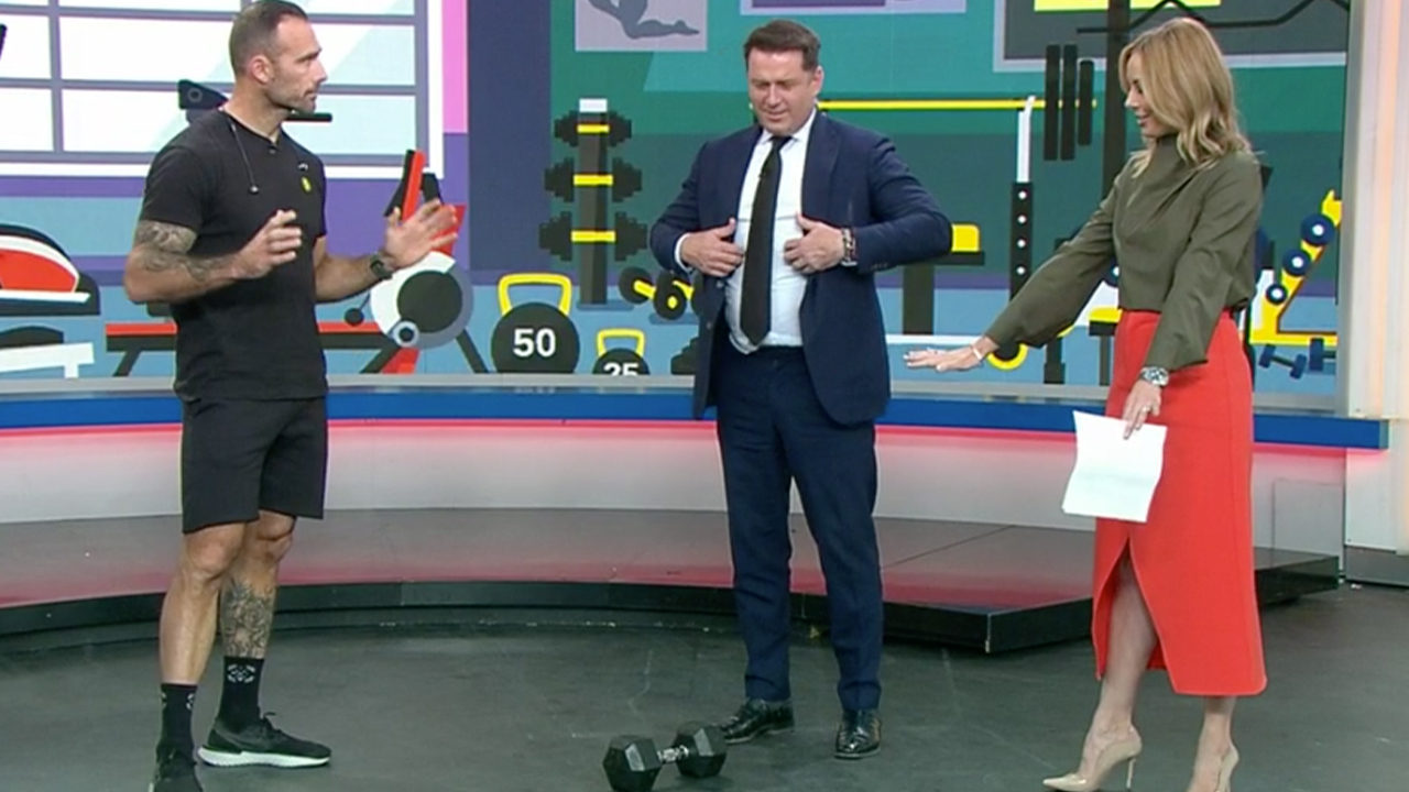 Karl Stefanovic left puffing after first workout in fitness challenge