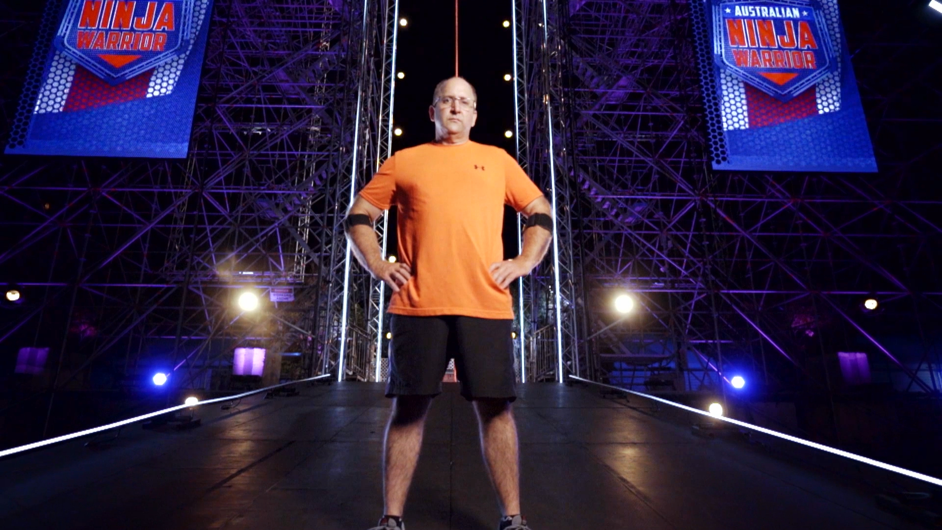 Unseen run: Bryson Klein's dad Matthew runs the Ninja Warrior course