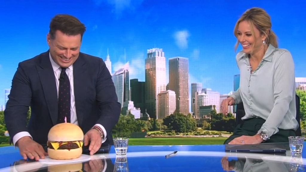 Karl Stefanovic surprised with epic cake on birthday