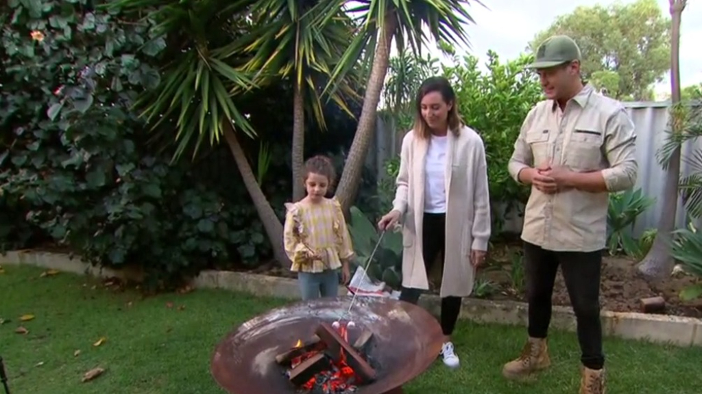 The Block's Luke and Jasmin road test fire pits