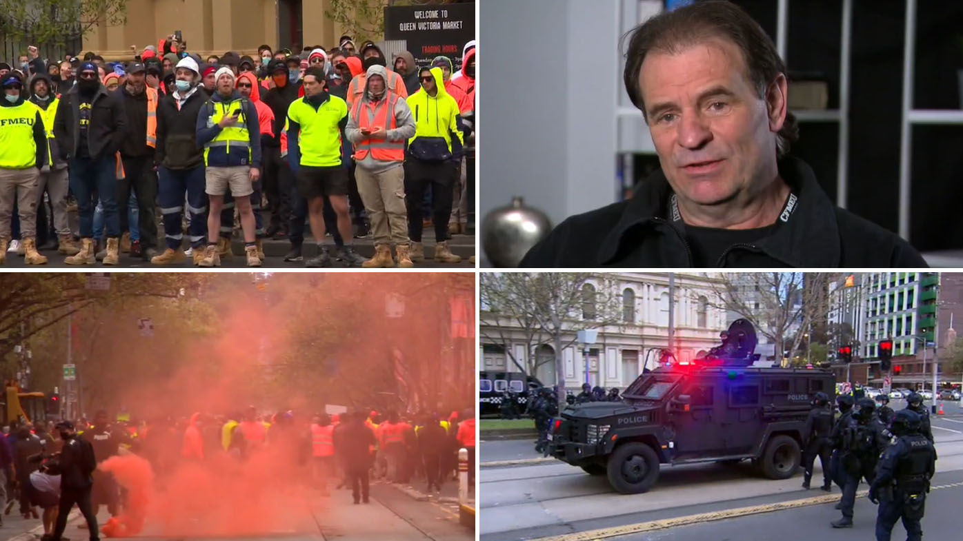 CFMEU boss speaks out over 'distressing' protest in Melbourne.